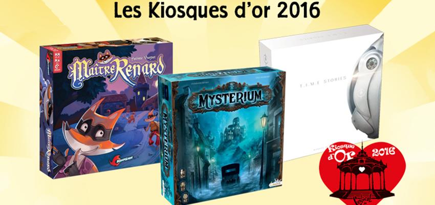 les jeux primés au Kiosque d'or 2016, prix du Festival du jeu de Valence