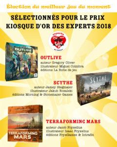 jeux nommés au prix Kiosque d'Or des experts 2018 du Festival du jeu de Valence