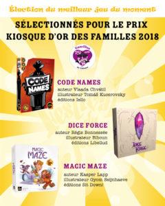 jeux nommés au prix Kiosque d'Or des familles 2018 du Festival du jeu de Valence