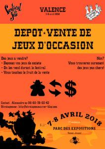 affiche du dépôt-vente de jeux d'occasion 2018 organisé par l'association Stratagemme au 7e Festival du jeu de Valence