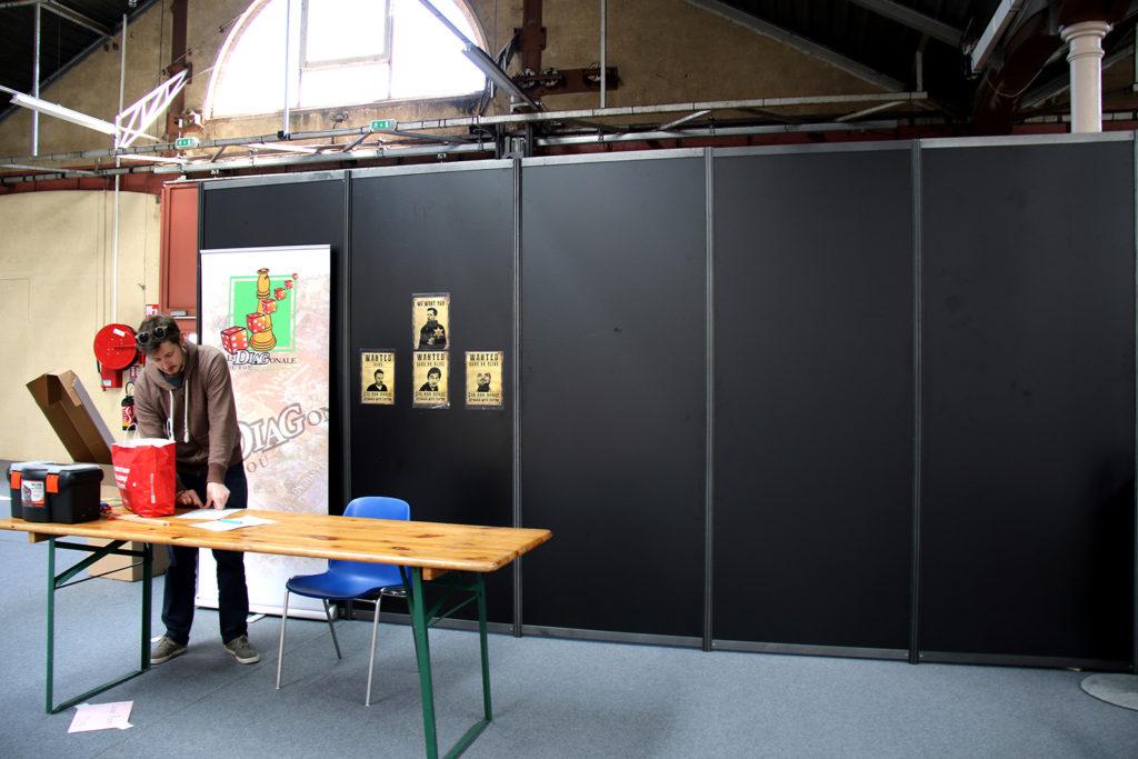 Préparation de l'Escape Game présentée sur le Festival du jeu de Valence 2018, créée et animée par Valence ludique