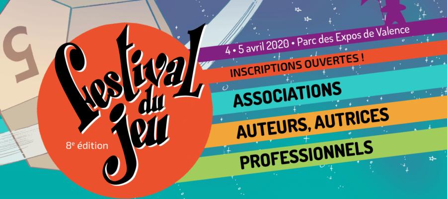 bandeau inscription des professionnels, auteurs et associations au Festival du jeu de Valence 2020