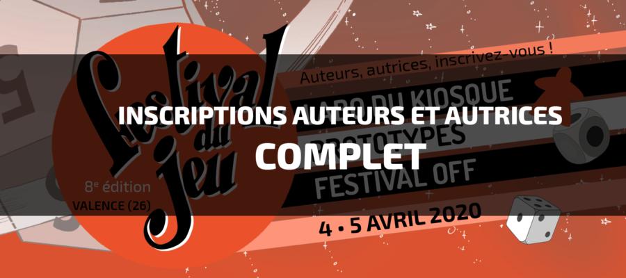 espaces auteurs et autrices (prototype, labo du kiosque et festival OFF) 2020 du Festival du jeu de Valence