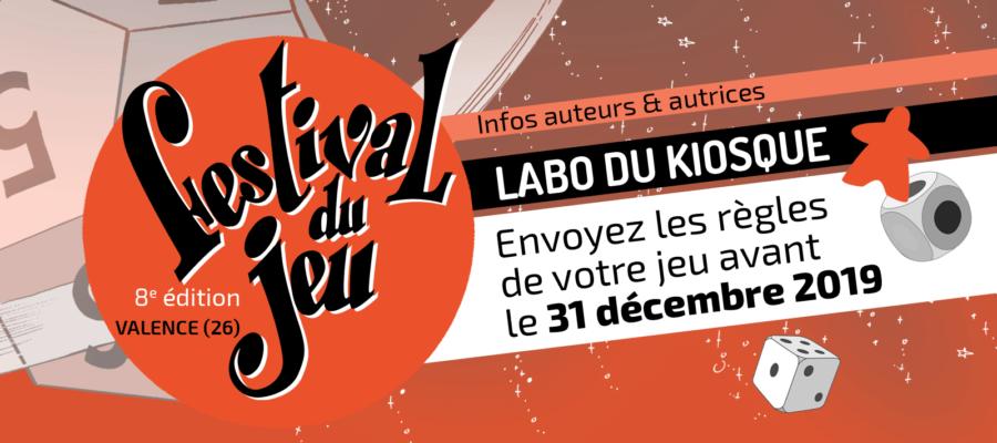 concours de prototypes de jeux Le Labo du kiosque 2020 du Festival du jeu de Valence, partenaire du Festival International des jeux de Cannes