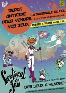 affiche du dépôt-vente de jeux d'occasion 2020 organisé par l'association Stratagemme au 7e Festival du jeu de Valence