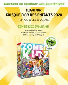 Zombie Zidz, jeu gagnant du prix Kiosque d'Or des enfants 2020 du Festival du jeu de Valence