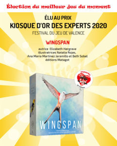 Wingspan, jeu gagnant du prix Kiosque d'Or des experts 2020 du Festival du jeu de Valence