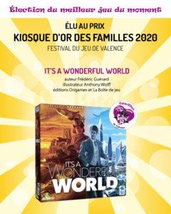 It's a Wonderful World, jeu gagnant du prix Kiosque d'Or des familles 2020 du Festival du jeu de Valence