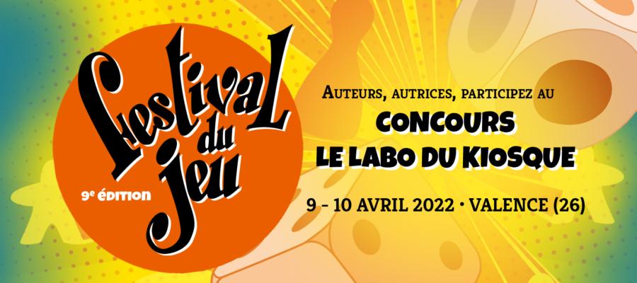 bandeau du concours le Labo du Kiosque 2022 du festival du jeu de Valence
