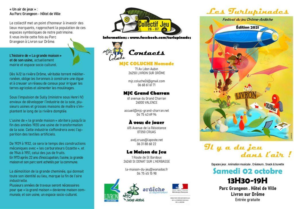 programme recto du festival du jeu itinérant les Turlupinades samedi 2 octobre 2021 à Liron-sur-Drôme