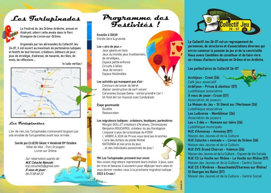 programme verso du festival du jeu itinérant les Turlupinades samedi 2 octobre 2021 à Liron-sur-Drôme